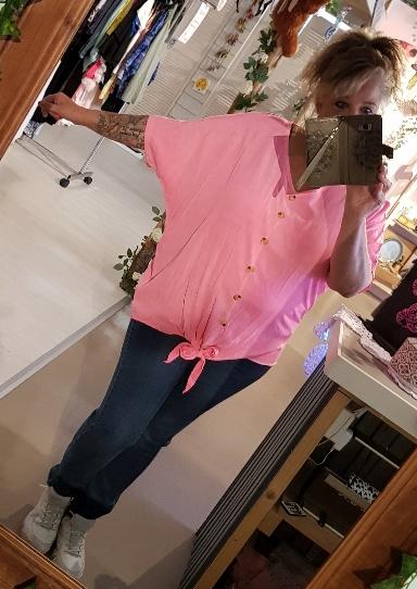 Knoop blouse fluor roze
