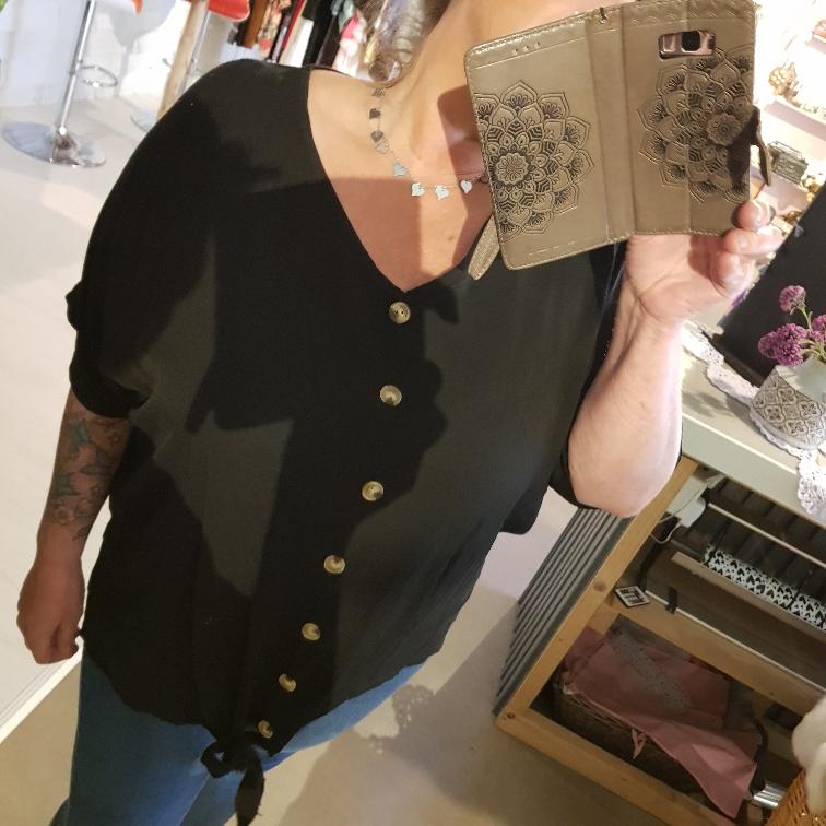Knoop blouse zwart