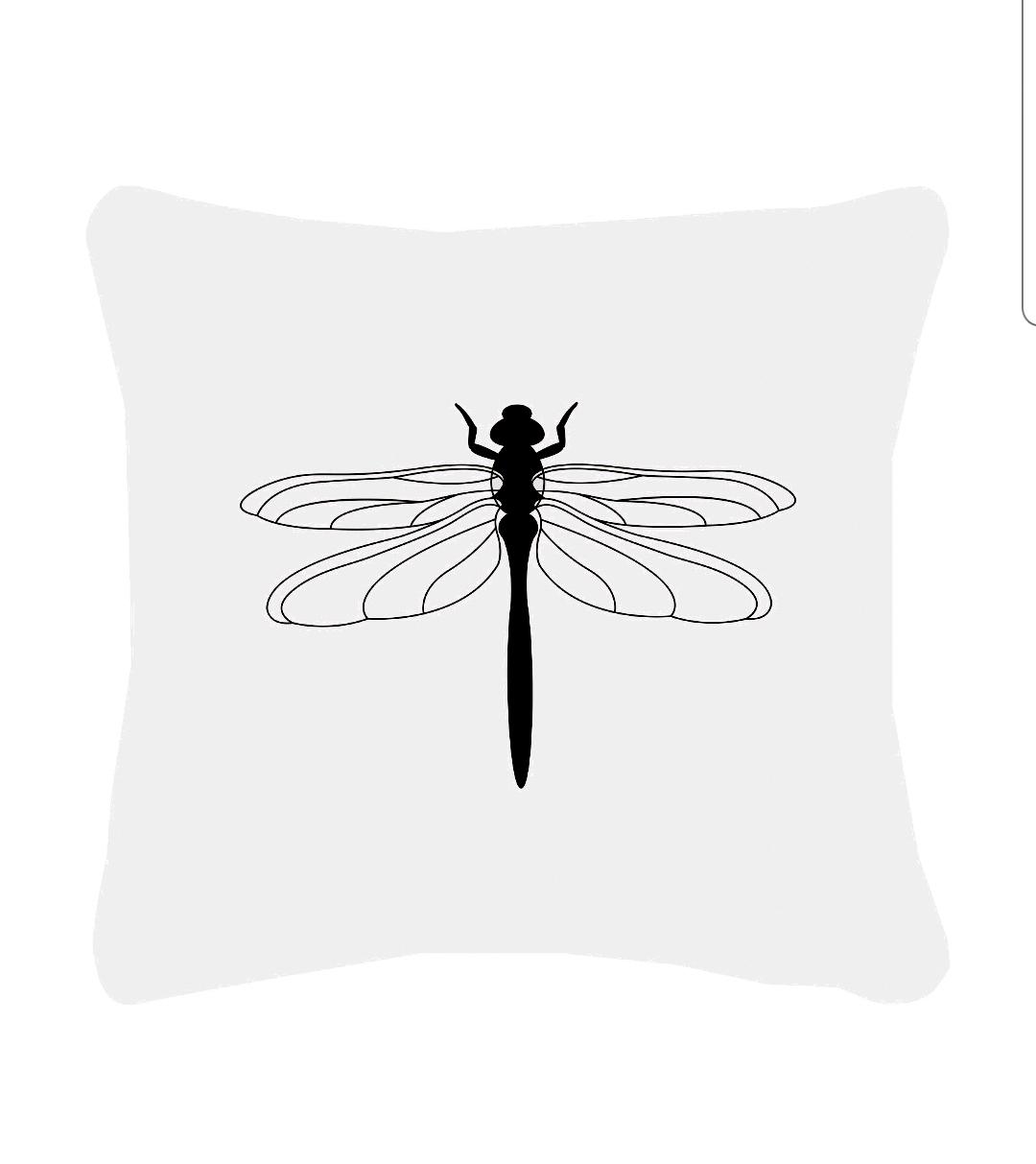 Buitenkussen wit met zwarte libelle van Zoedt