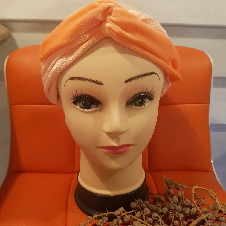 Haarband fluweel oranje