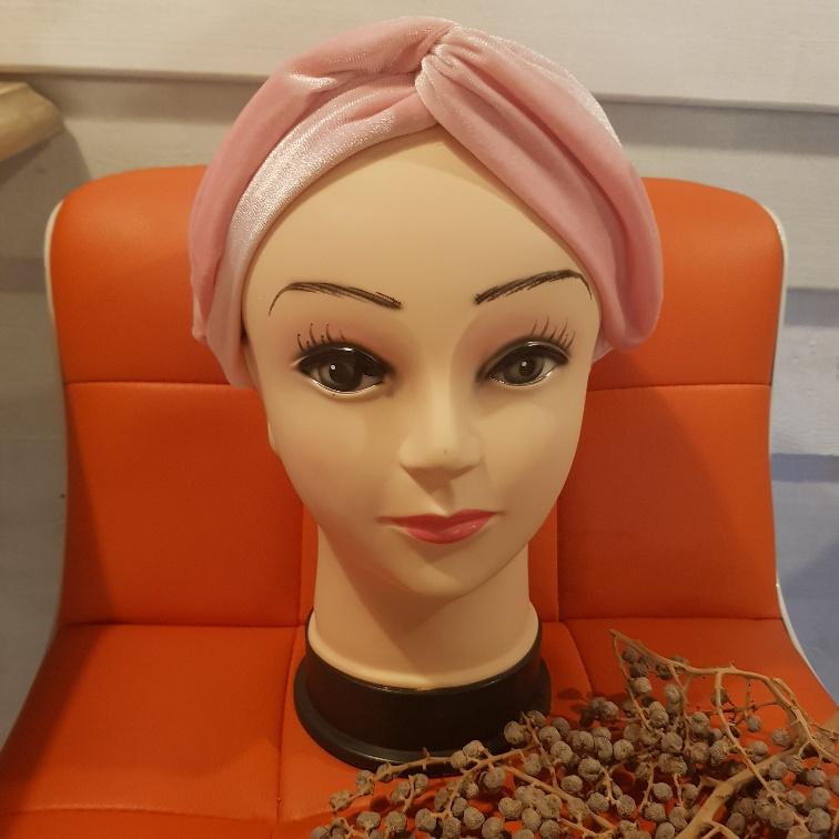 Haarband fluweel oud roze