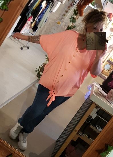 Knoop blouse fluor zalm